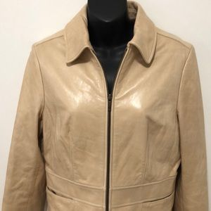 Ann Taylor Small Tan Leather Jacket